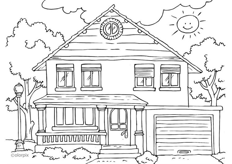 Coloring page house - exterior