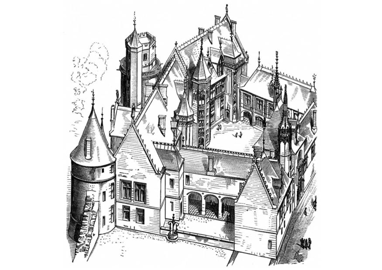 Coloring page house in France 1443