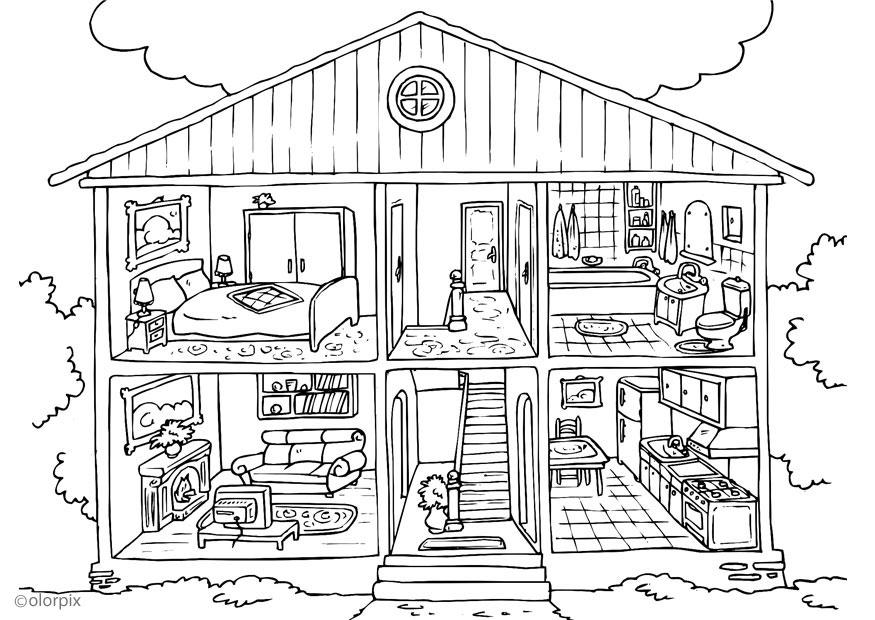 Coloring page house interior img 25995