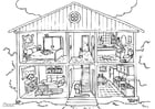Coloring page house - interior