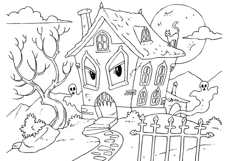 Coloring page house of horror