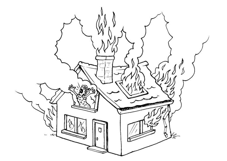 Coloring page house on fire