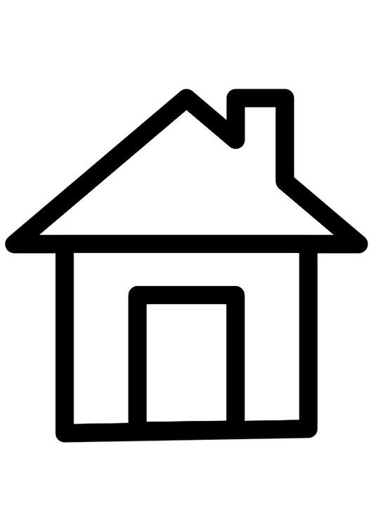 Haus clipart schwarz weiß  Coloring page house - img 28263.