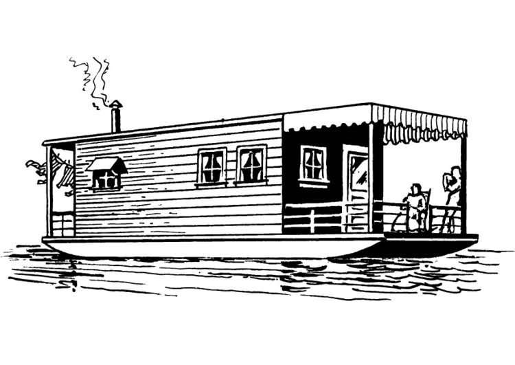 Coloring page houseboat img 13705