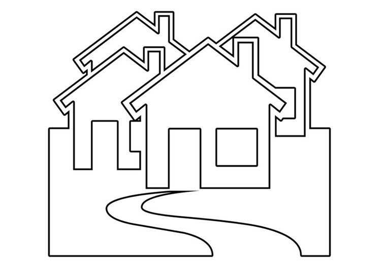 Coloring page houses