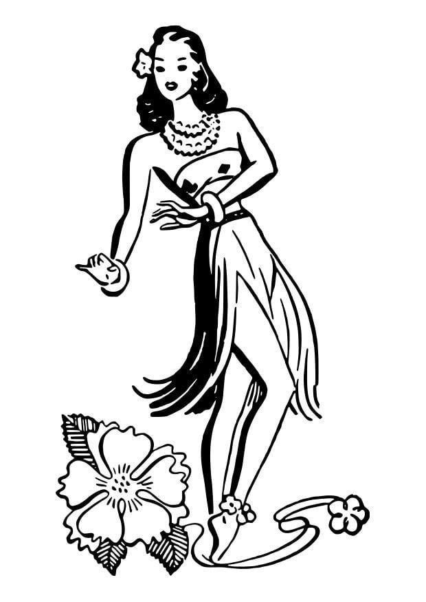 hawaiian hula dancers coloring pages | Coloring page hula dancer - img 27872.