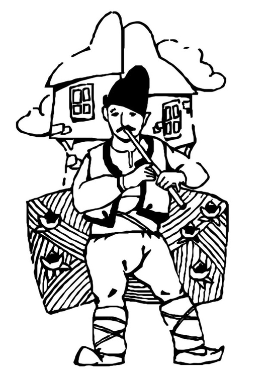 Coloring page Hungarian musician