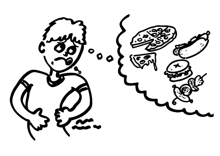 Coloring page hungry
