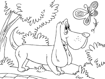 Coloring page hunting dog