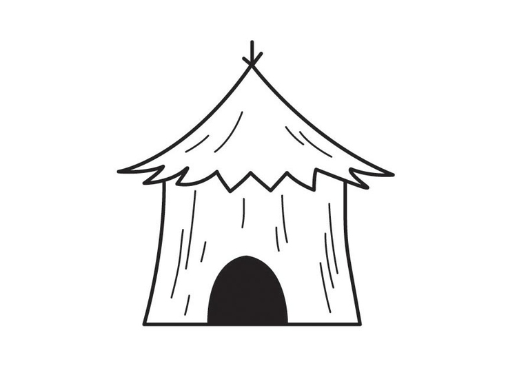 Coloring page hut