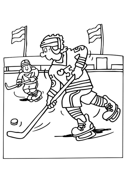 Coloring page ice hockey