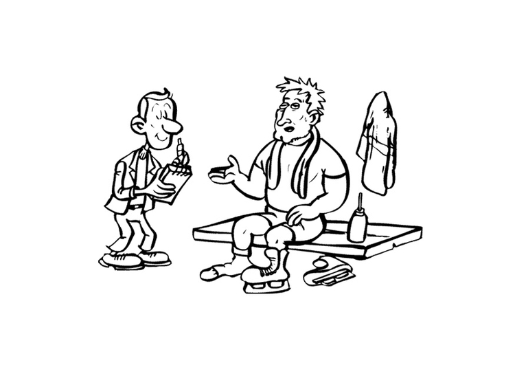Coloring page ice skater with journalist