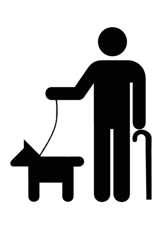 Coloring page Icon for accessibility for the blind