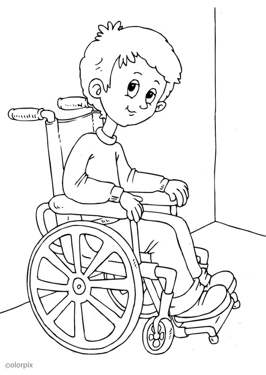 Coloring page in a wheelchair