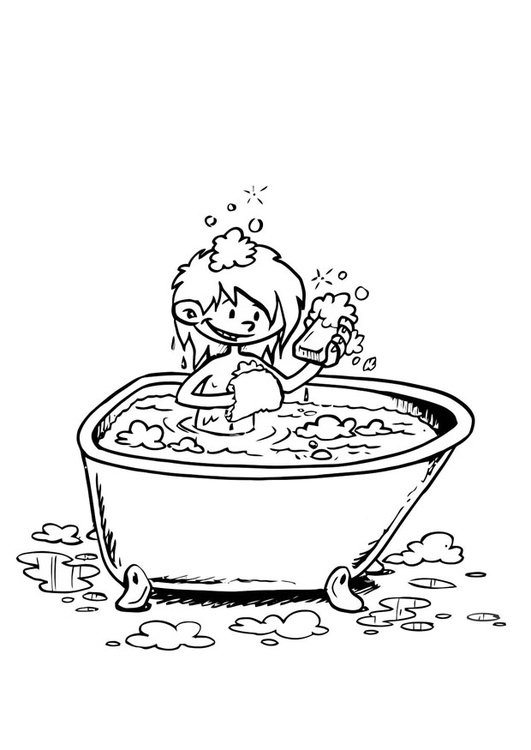 Coloring page in the bath