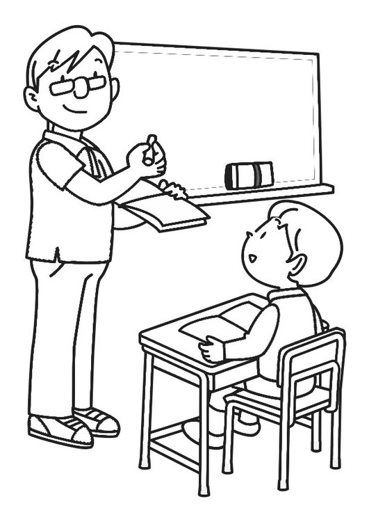 Coloring page in the classroom
