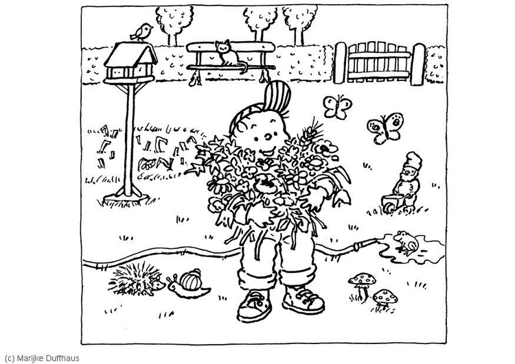 Coloring page kid in the garden