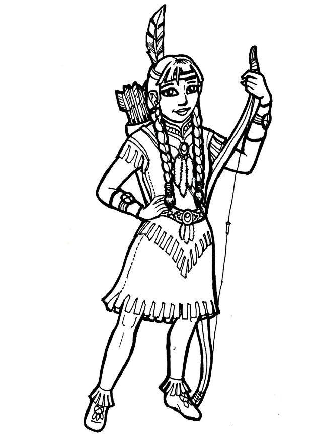 download large image - Girl Indian Coloring Pages