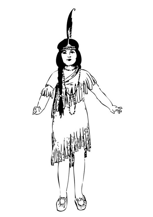 Coloring page Indian girl - img 17086.