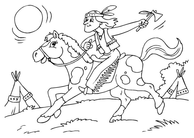 Coloring page indian on horse