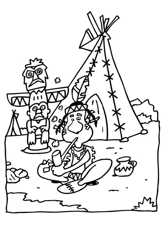 Coloring page indian teepee