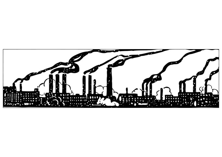 Coloring page industrial pollution