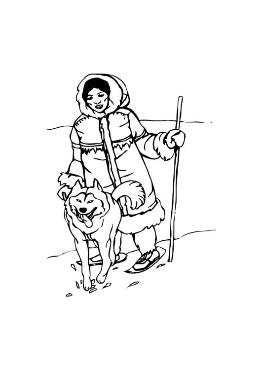 Coloring page inuit