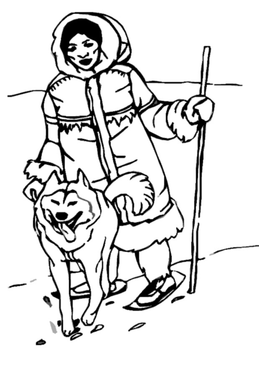 Coloring page inuit- eskimo