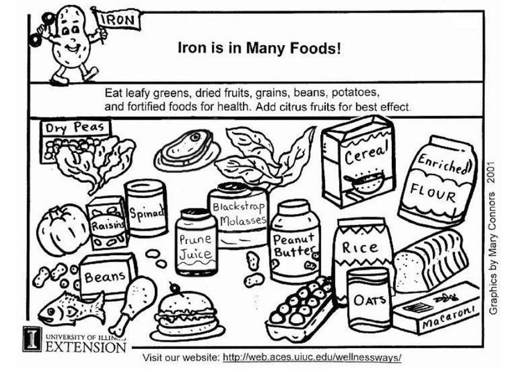 Coloring page iron in foods
