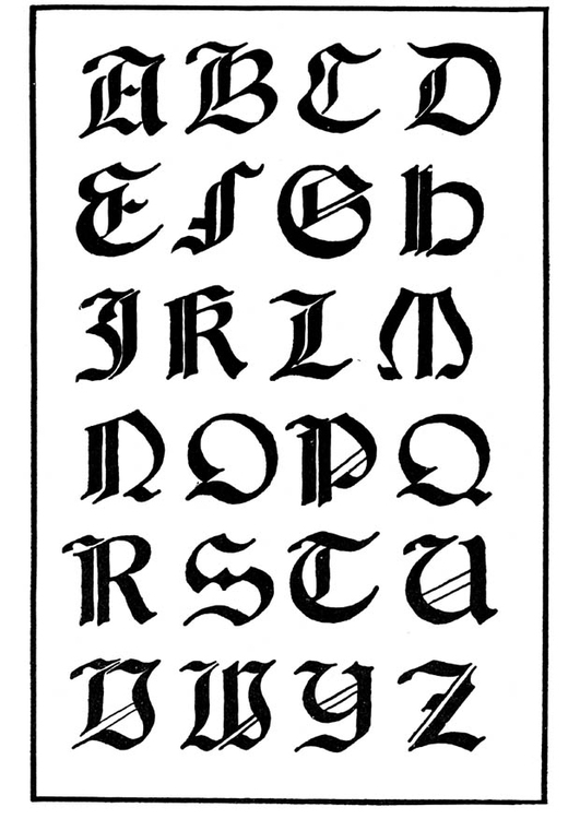 Coloring page italian gothic lettertype