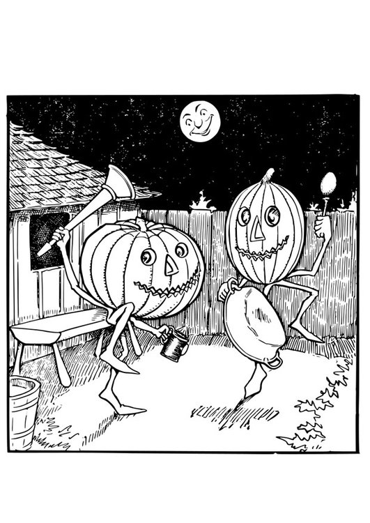 Coloring page Jack O' Lantern's dance