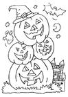 Coloring page jack-o-lanterns