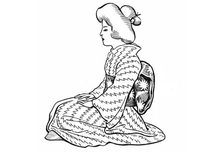 Coloring page Japanes woman - traditional costume