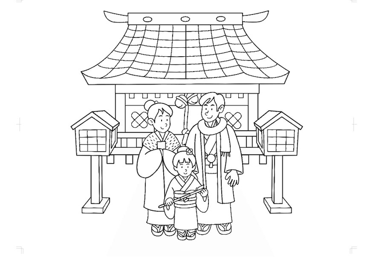 Coloring page Japanese traditional wear