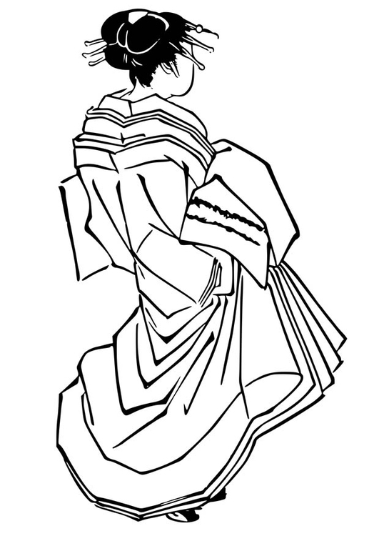 Coloring page Japanese woman