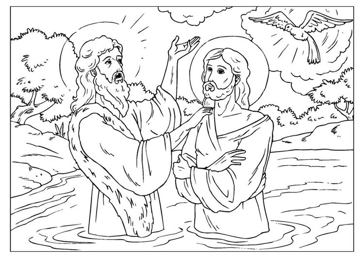 Coloring page Jesus baptized