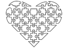 Coloring pages jigsaw heart