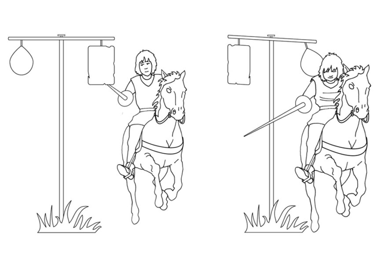 Coloring page jousting training