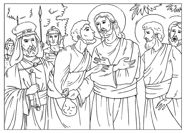 Coloring page Judas betrayal