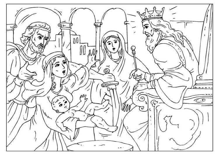 Coloring page judgement of Solomon