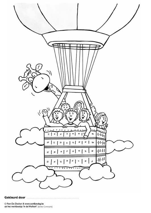 Coloring page Jules and friends in hot air balloon