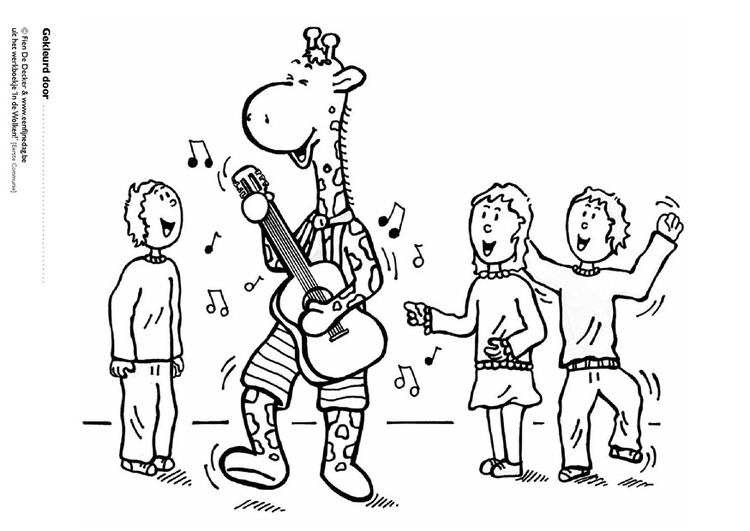 Coloring page Jules plays music with friends