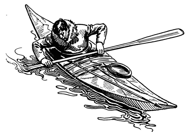 Coloring page kayak
