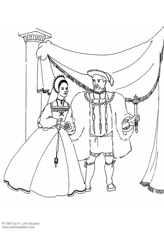Coloring page king and queen 1534
