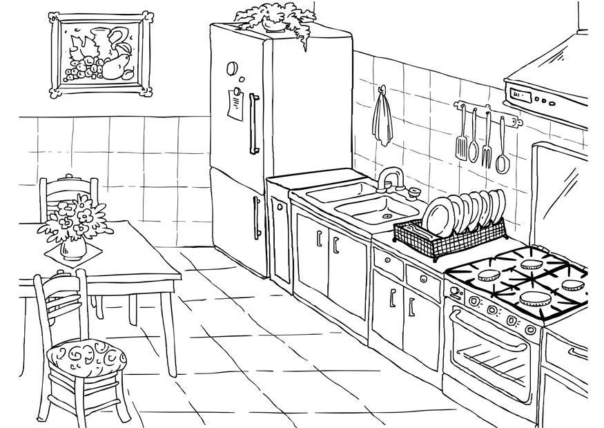 Coloring page kitchen img 26224 - Pintar la cocina ...