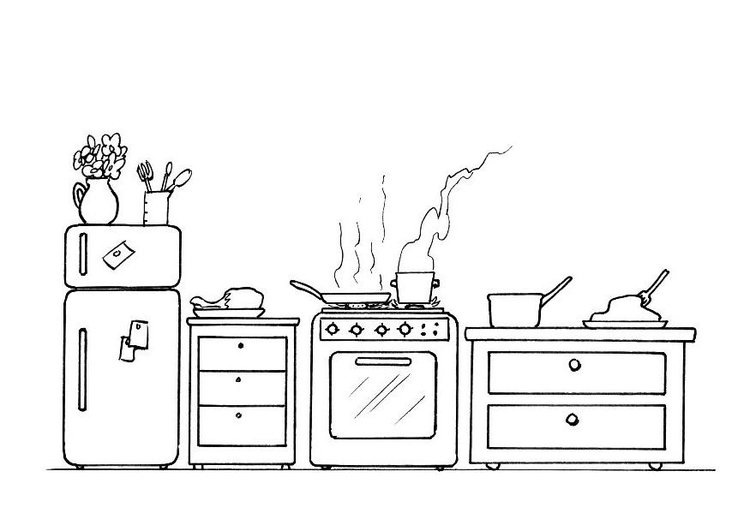 Coloring page kitchen