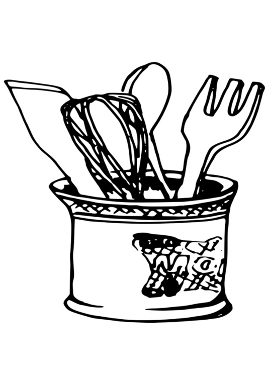Coloring Page Kitchen Utensils