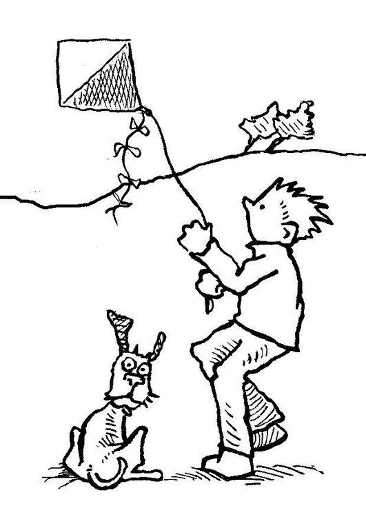 Coloring page kite - wind