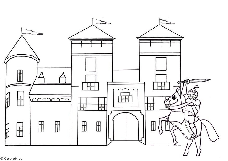 Coloring page knight and castle