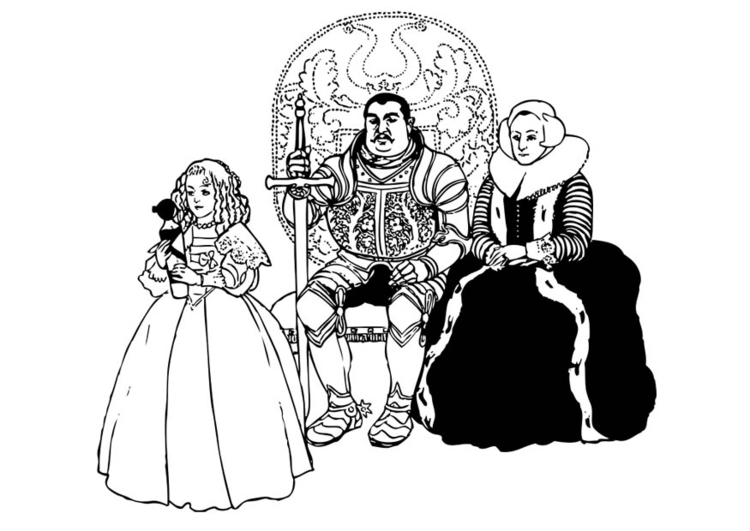 Coloring page Knight and Family